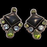 Sterling Onyx Peridot and blue Topaz Pierced Earrings