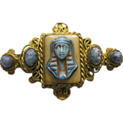 Art Deco Egyptian Revival Faux Turquoise Brooch Pin