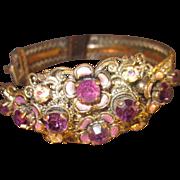 "German Victorian styled Amethyst Rhinestone and Aurora Borealis Bracelet 7 1/4"" wrist"