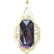 SOLD ON HOLD! Art Deco Amethyst Glass Pendant Necklace