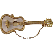 Vintage Mother of Pearl Mandle Guitar Brooch