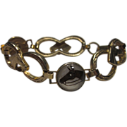 Vintage Horse Bracelet Gold Tone Retro Equestrian Bracelet Five Horse Heads & Six lucky Horses