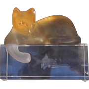 Daum France Crystal Cat reaching into Fish Tank - Whimsical Figurine - Cat Figurine