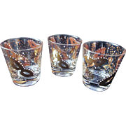 Vintage Mardi Gras Rocks Glasses-Set of 3