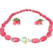 Vintage Murano Glass Sugared Strawberry Necklace and Earring Demi Parure from the 1950's - Red