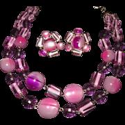 Gorgeous Gumdrop Purple Pink Lucite Plastic Necklace Earring Set