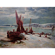 19th Century Oil on Canvas Winter Nautical Maritime Scene