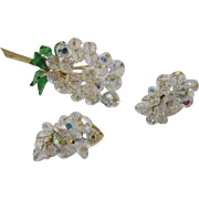 Vintage Retro Demi Parure AB Crystal beads and Enamel Brooch and Earrings