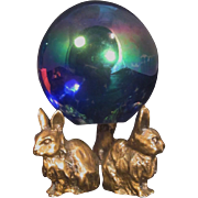 Vintage iridescent Sphere with Bunny Holder-Easter Decor-Home Decor