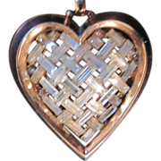 Vintage Trifari Heart Pendant and large Gold tone Trifari snake Chain