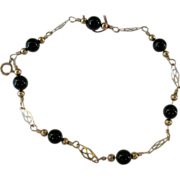 Victorian style 14kt GF and Onyx bracelet