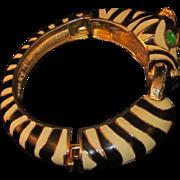 Vintage & Rare Signed Ciner Zebra Rhinestone and Enamel Bracelet
