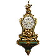 SOLD Green horn cartel clock is from period 1747 (Louis XV).