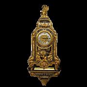 SOLD A MASSIVE French period 1880 gilt,- black/brown tortoiseshell boulle bracket Clock
