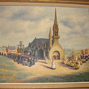 """REDUCED SALE ITEM Fabulous Flemish Original Oil on Canvas Framed Painting, """" Procession"""""""
