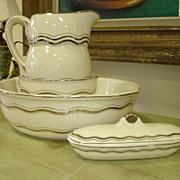 REDUCED SALE ITEM Vintage Washbasin set: Ewer, Basin, Oblong Lidded Receptacle