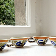 REDUCED Very Old French Country Handmade and Handpainted Demitasse Cups