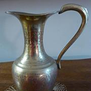 REDUCED Brass Etched Enamel Pitcher /Vase, French Estate find