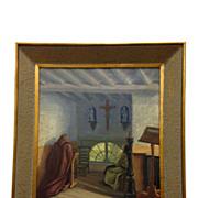 "REDUCED Original Framed Oil Painting, ""Brothers In Prayer""  by Flemish Artist J Van"
