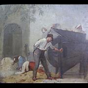 "Joseph Fortune Layraud (French 1834-1912) ""La Batteuse"" Oil on Board"