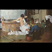 Early 20th Century French School Après le Bain Oil on Canvas