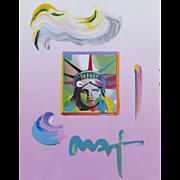 Peter Max (American b.1937) Liberty Head (2009) Original Mixed Media