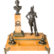 A Rare Napoleonic Bronze and Sienna Marble Inkstand French First Empire c.1805 Grenadier ...