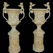 Pair Bronze Urns