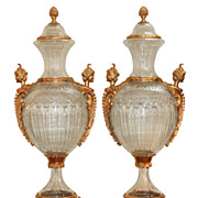 Fine Pair of French Style Gilt Bronze Mounted Vases