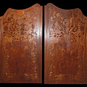 Pair Walnut Inlaid Panels