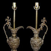 SALE Pair French Bronze Lamps