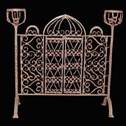 SALE Antique Iron Fire Screen