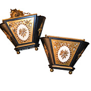 Neoclassical Mirrored Planters, Pair