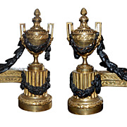 Exceptional Pair Gilt Bronze Chenets