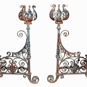Large Antique Andirons