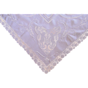 SOLD Linen and Filet Lace Putti Tablecloth