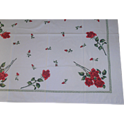 SOLD Roses 50's Tablecloth