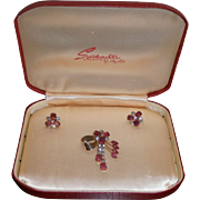 Rhinestone Brooch and Earrings Scitarelli MIB