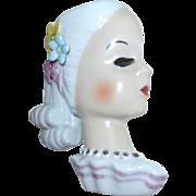 Lady Head Wall Pocket Vase Japan