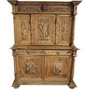 Antique French Hunting Cabinet Made of Stripped Oak, 19th Century