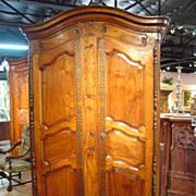 Antique Walnut Wood Armoire-Fourques C. 1815-1825