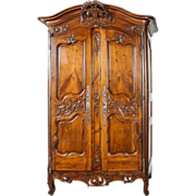 "18th Century Walnut Wood Armoire from Nimes, France - Louis XV Provencal, Signed ""IG"""