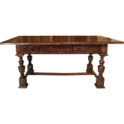 Antique Walnut Wood Desk from Northern Italy