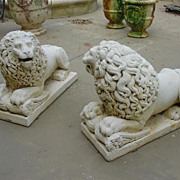 Pair of Lions 'Couche'