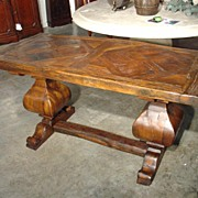 French Sofa Table Made from Oak Parquet and Beams