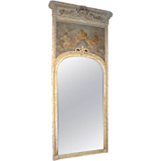 Monumental Antique, French Parcel Paint Trumeau Mirror