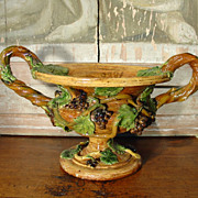Antique Two Piece Palissy Barbotine Urn by Emile Gambut, FRANCE