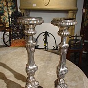 Pair of Silvered Metal Empire Candlesticks