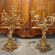 Pair of French Gilt Bronze Candelabras