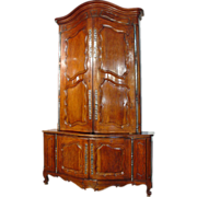 18th C. French Louis XV Period Walnut Wood Buffet Deux Corps from a Boiserie